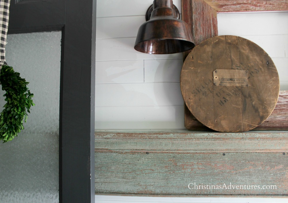 shiplap and vintage shelf