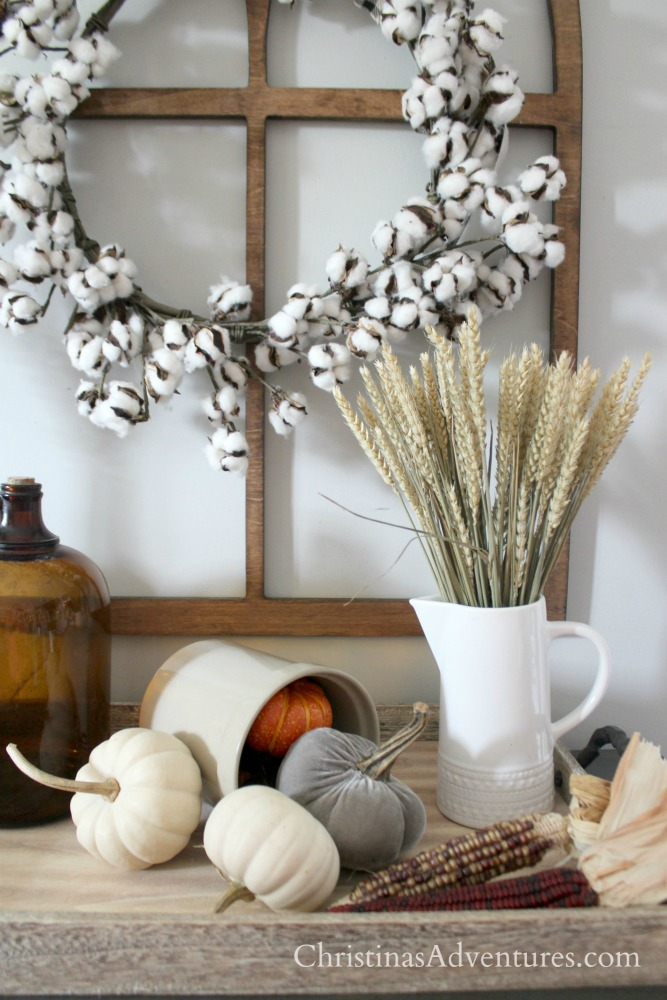 wheat cotton wreath pumpkins farmhouse fall display