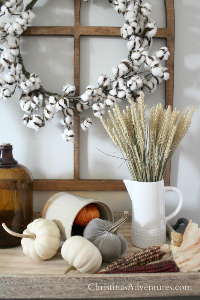 wheat cotton wreath pumpkins farmhouse fall display