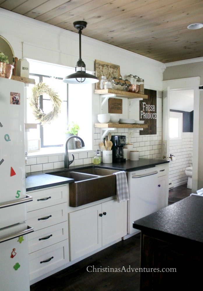 Simple autumn home tour kitchen with wood ceiling farmhouse kitchen open shelving