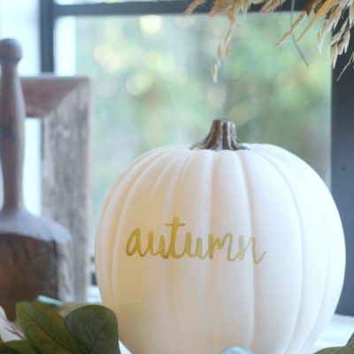White pumpkin & magnolia leaves fall decoration