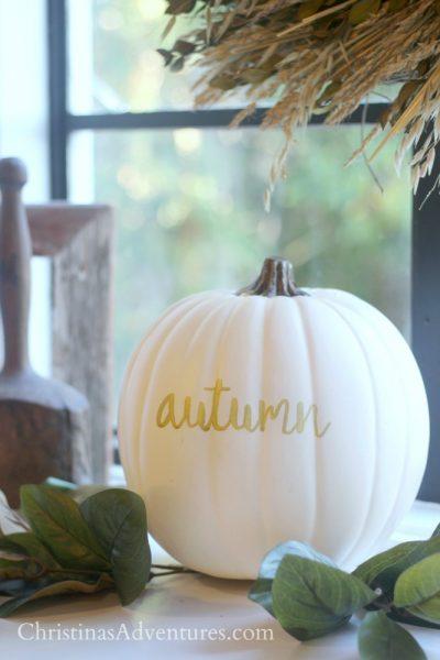 White pumpkin & magnolia leaves fall decoration