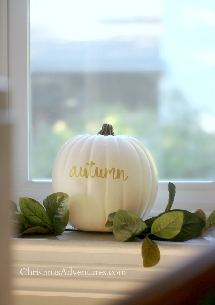 white pumpkin decoration with magnolia leaves