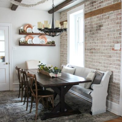 Vintage inspired farmhouse dining room makeover reveal