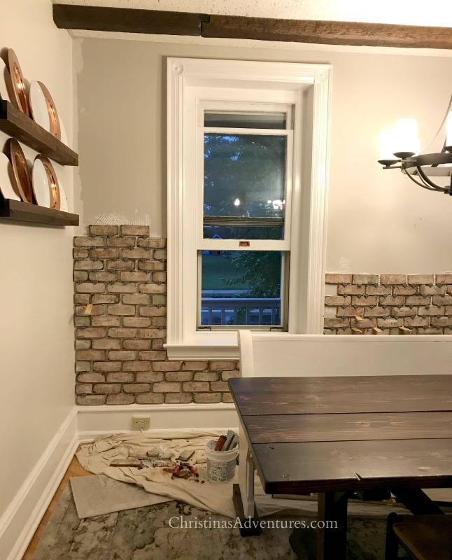 Kitchen brick veneer wall progress