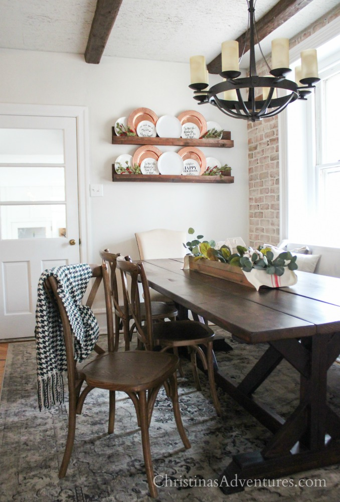wood x-back chair with wood farmhouse table