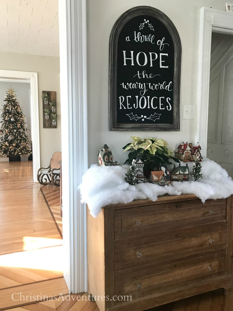 A thrill of hope chalkboard art Christmas village