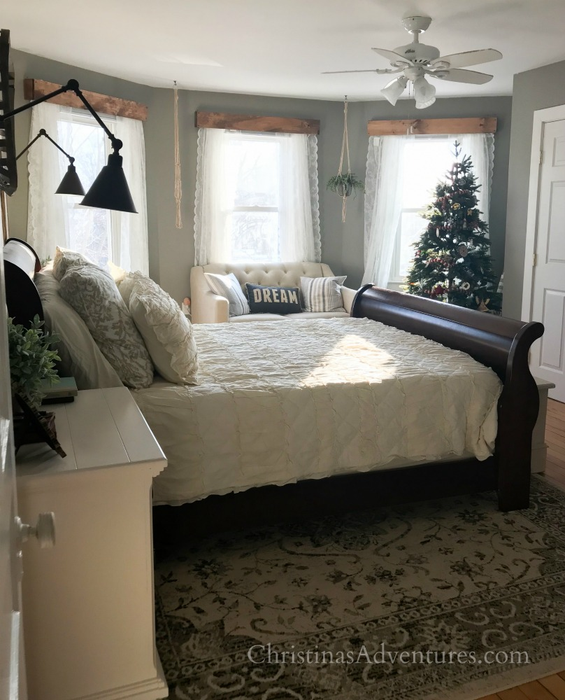 Christmas farmhouse bedroom