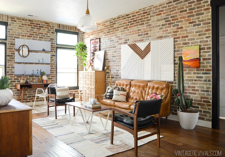 Vintage Revivals brick wall loft style family room