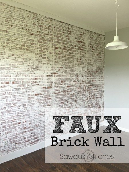 Sawdust2Stitches faux brick wall whitewashed german smear