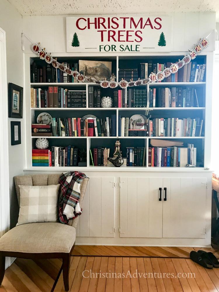 built in bookshelves with navy back