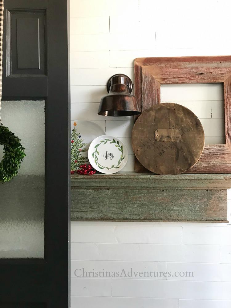 farmhouse christmas entryway dark gray door