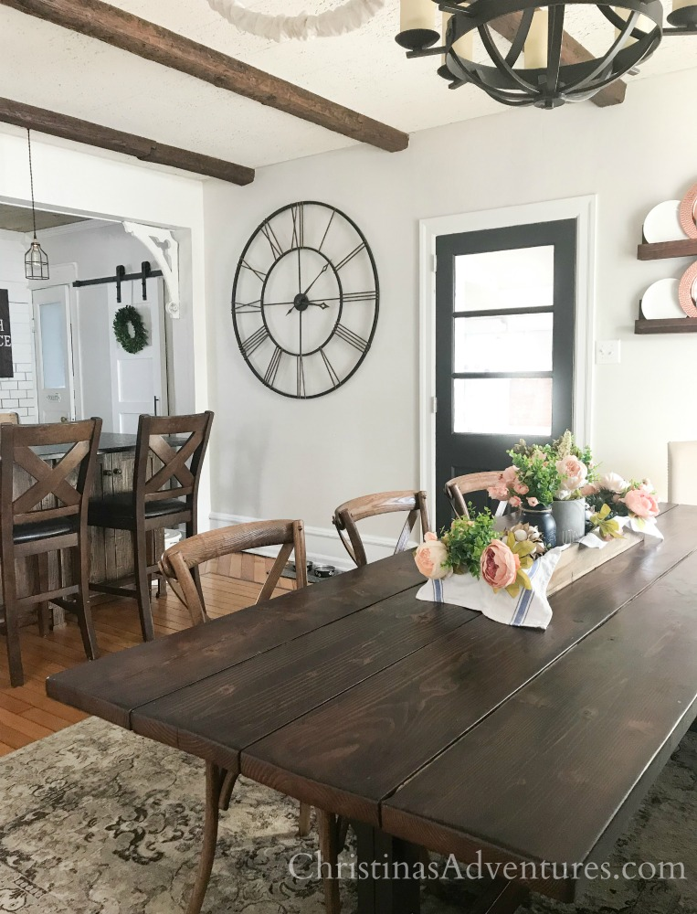 farmhouse kitchen dining room wood beams