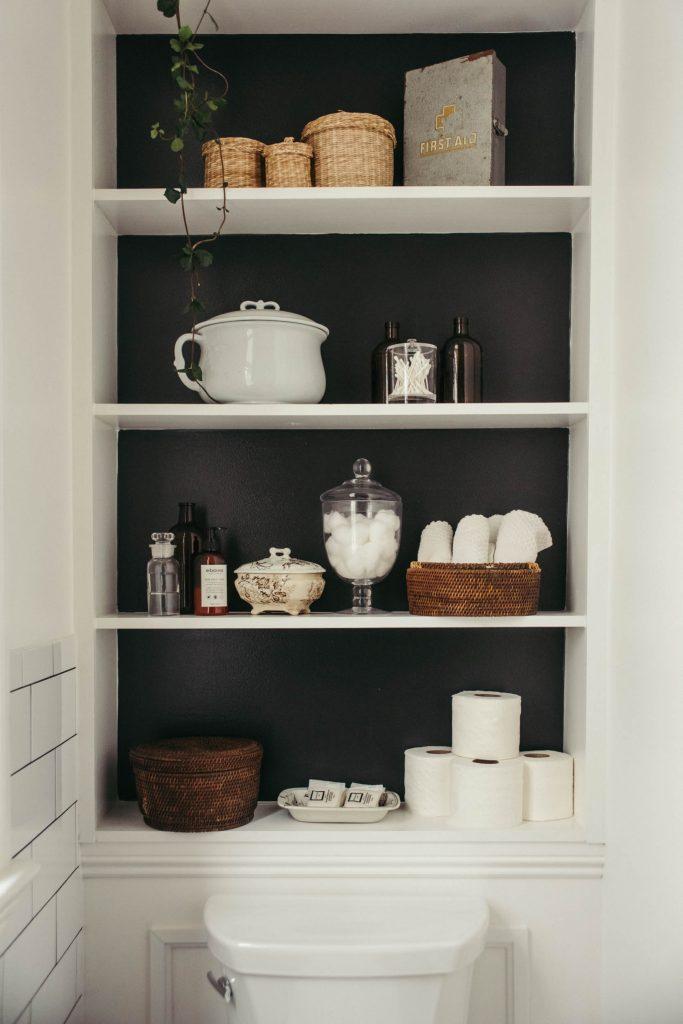 bookshelves with navy back
