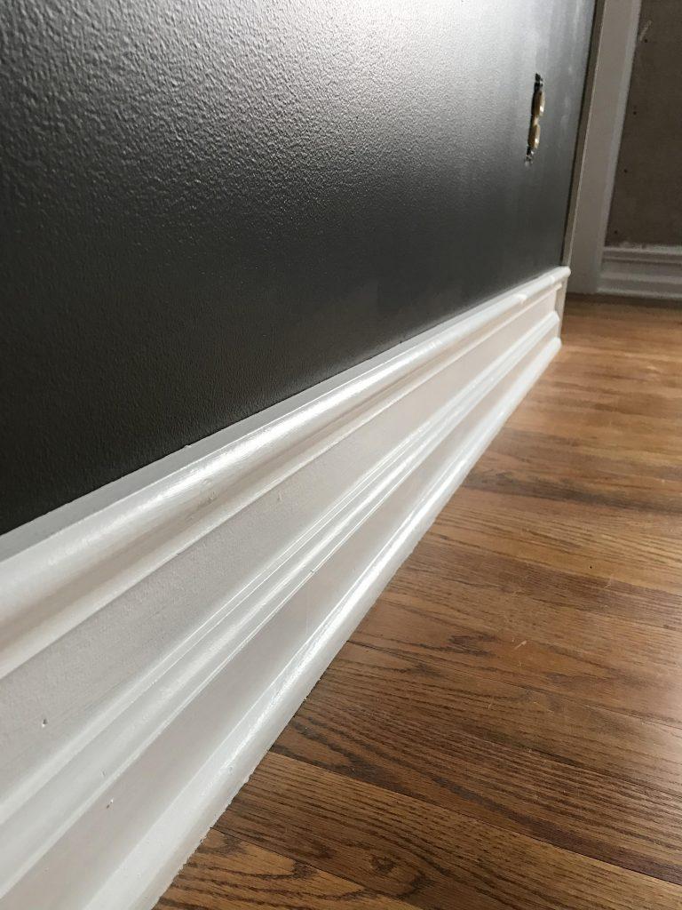 Fake old trim home hack and dark gray wall Urbane Bronze Sherwin Williams