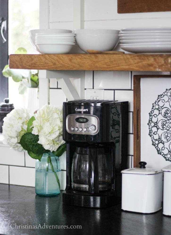 coffee maker farmhouse kitchen open shelving subway tiles