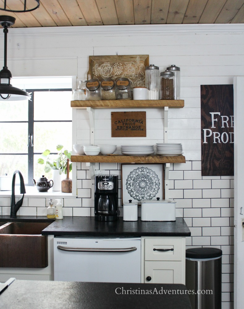 farmhouse kitchen open shelving shiplap