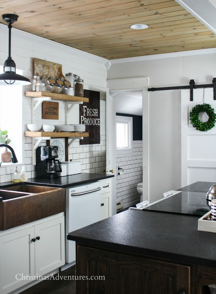 wood planked ceiling in a farmhouse kitchen