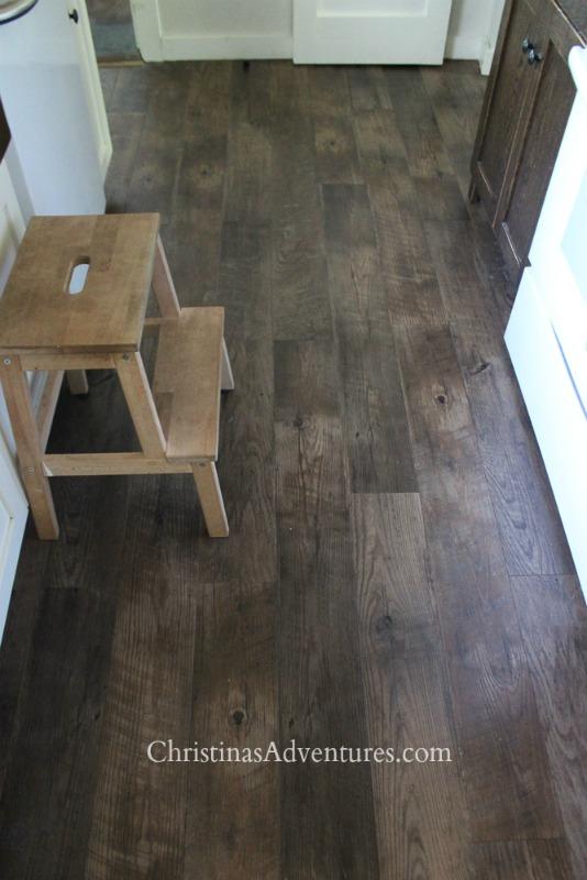 luxury vinyl tile floor in the kitchen