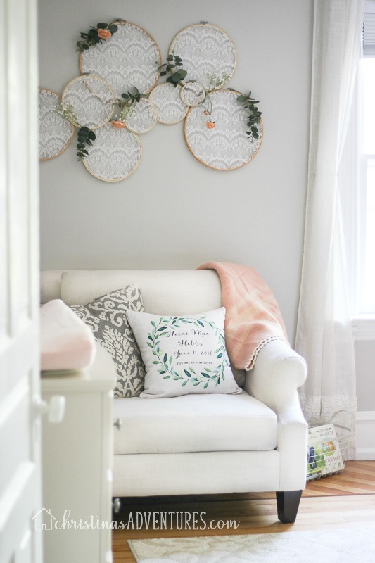 baby girl nursery with gray walls