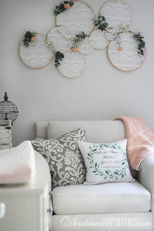 embroider hoops on repose gray walls