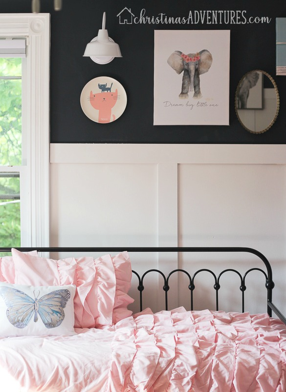 hale navy paint with white board and batten with pink ruffle bedding