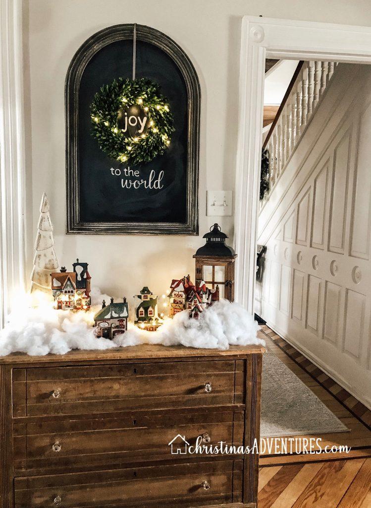 joy to the world chalkboard wood dresser with Christmas village