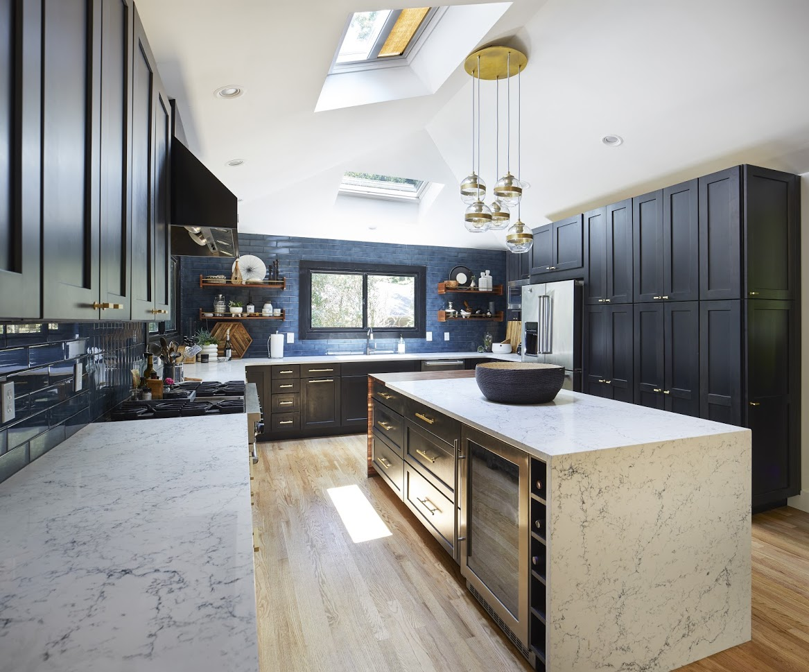 kitchen black blue with brass accents