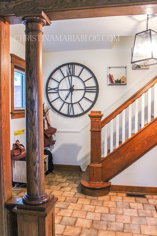 original wood trim staircase entryway