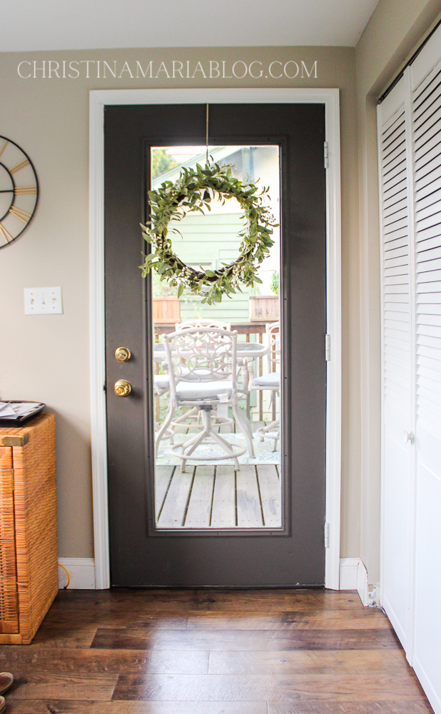 painted dark gray glass door