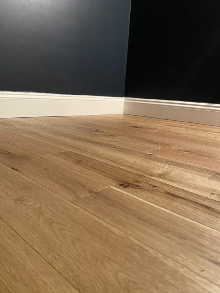 MDF trim wood floors and Hale Navy walls