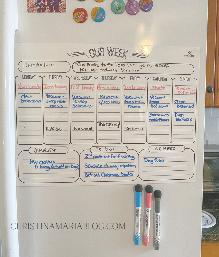 magnetic weekly family calendar