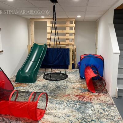 Our finished basement : a gross motor play zone for our kids!