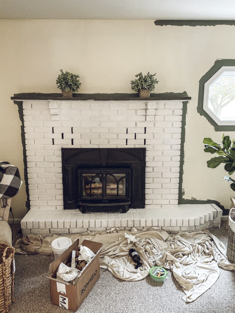 lime wash fireplace