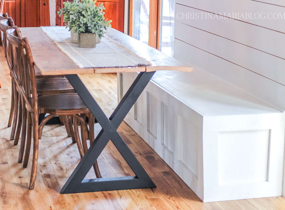 metal leg reclaimed wood DIY dining table