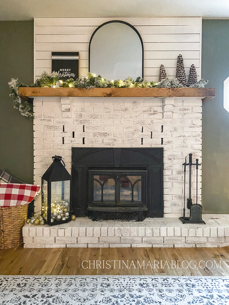 white fireplace limewash