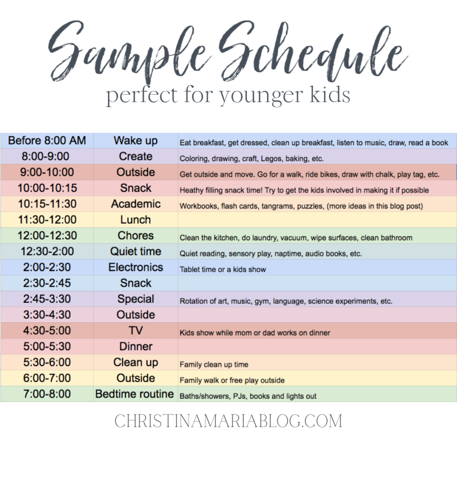 educational activities and a sample schedule for young kids