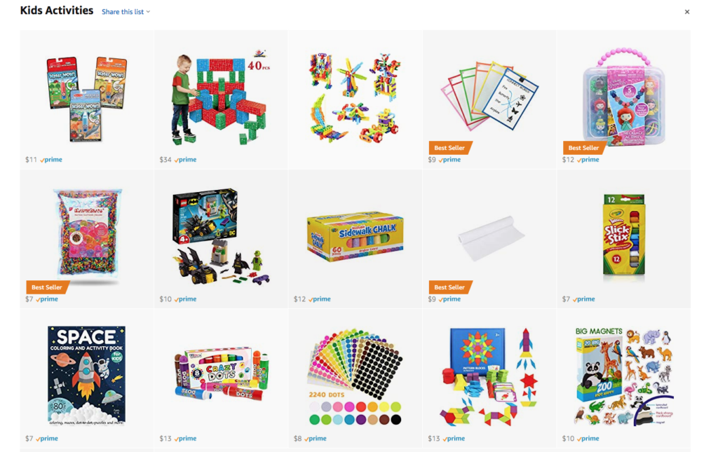 Kids educational activities on Amazon