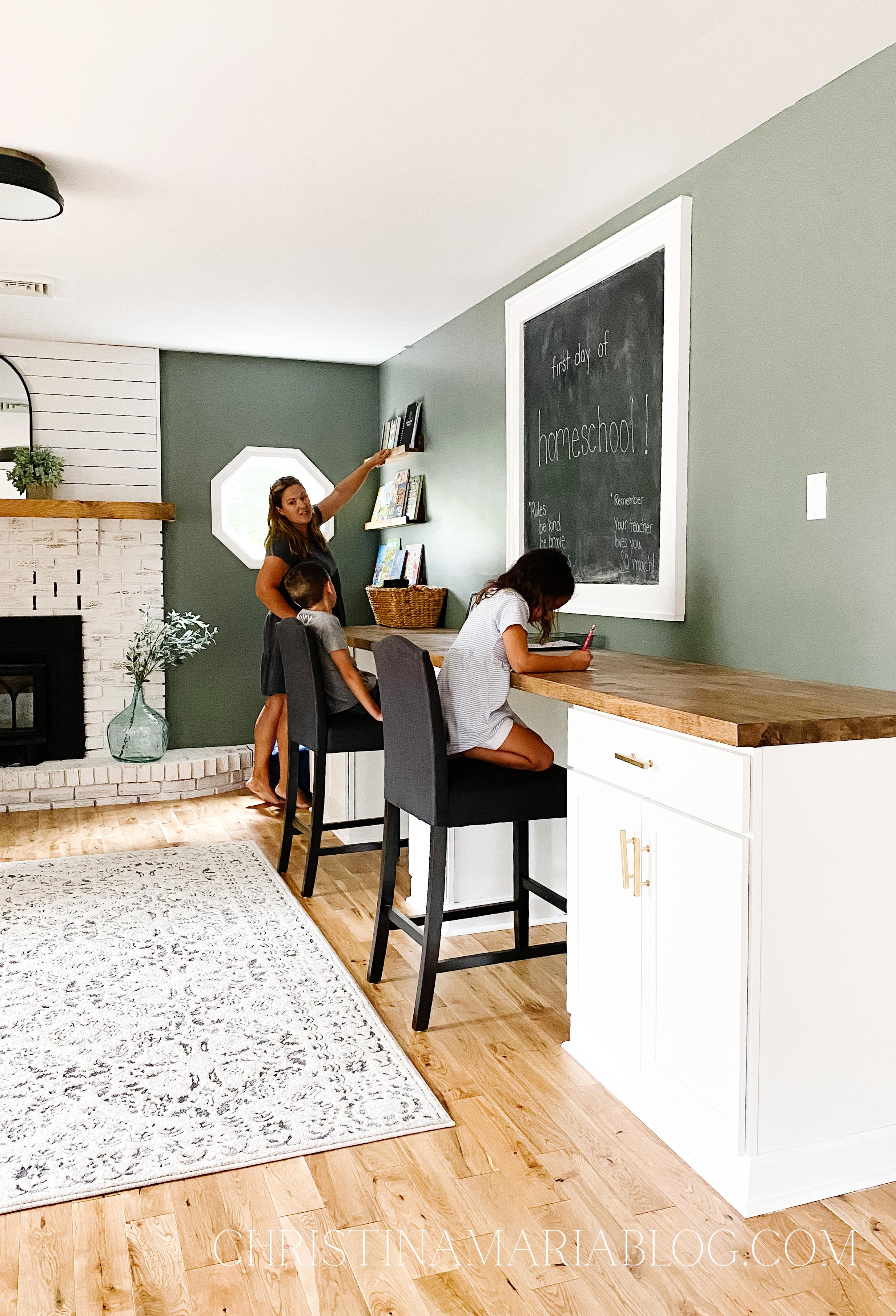 DIY Built in desk for our homeschool room