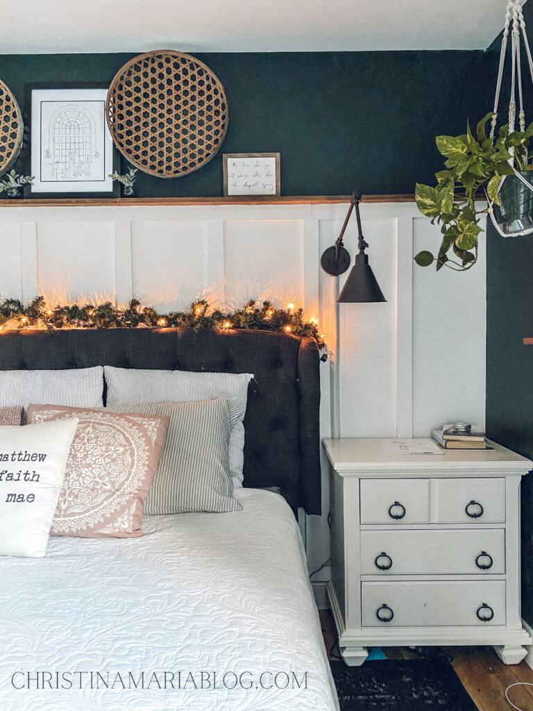 Cozy christmas bedroom board and batten