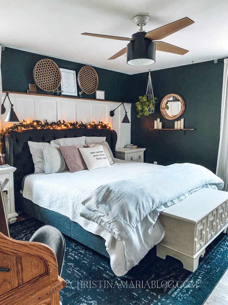 Cozy Christmas bedroom Benjamin Moore Salamander paint