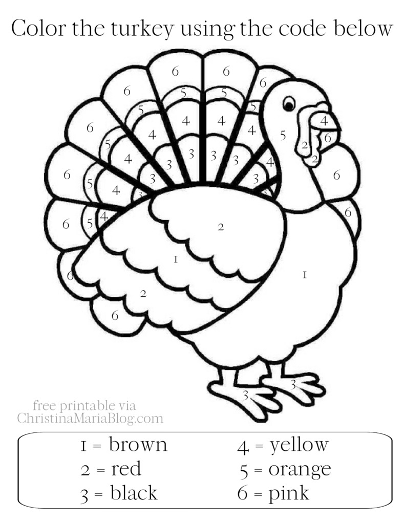 free turkey color by number