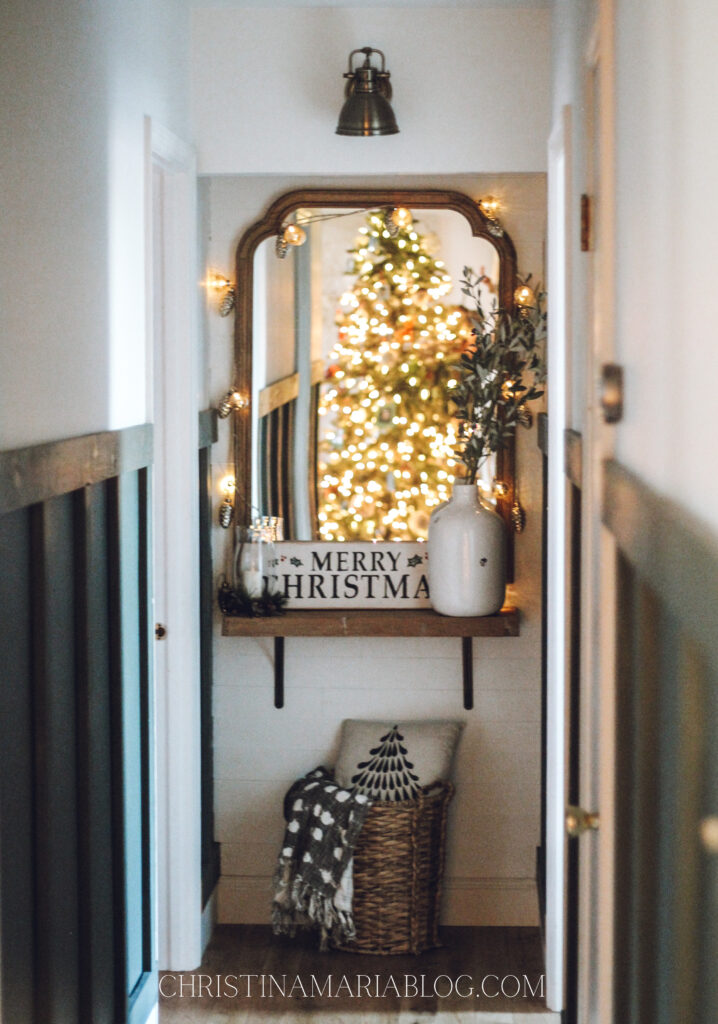 Christmas house tour hallway mirror