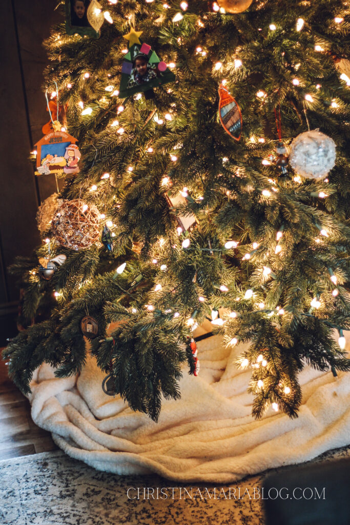 Christmas tree with blanket tree skirt