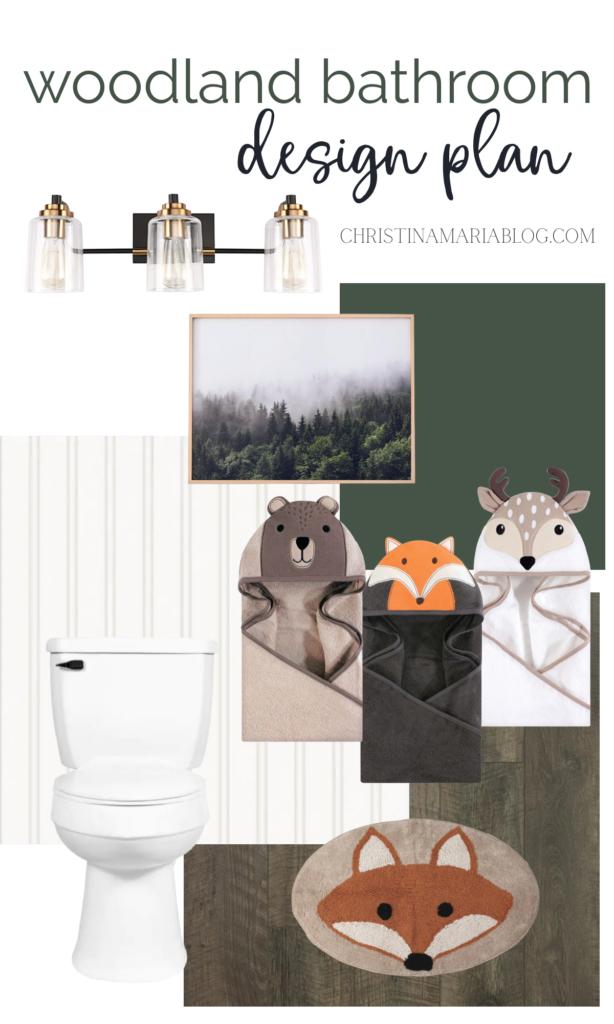 woodland bathroom design plan for kids