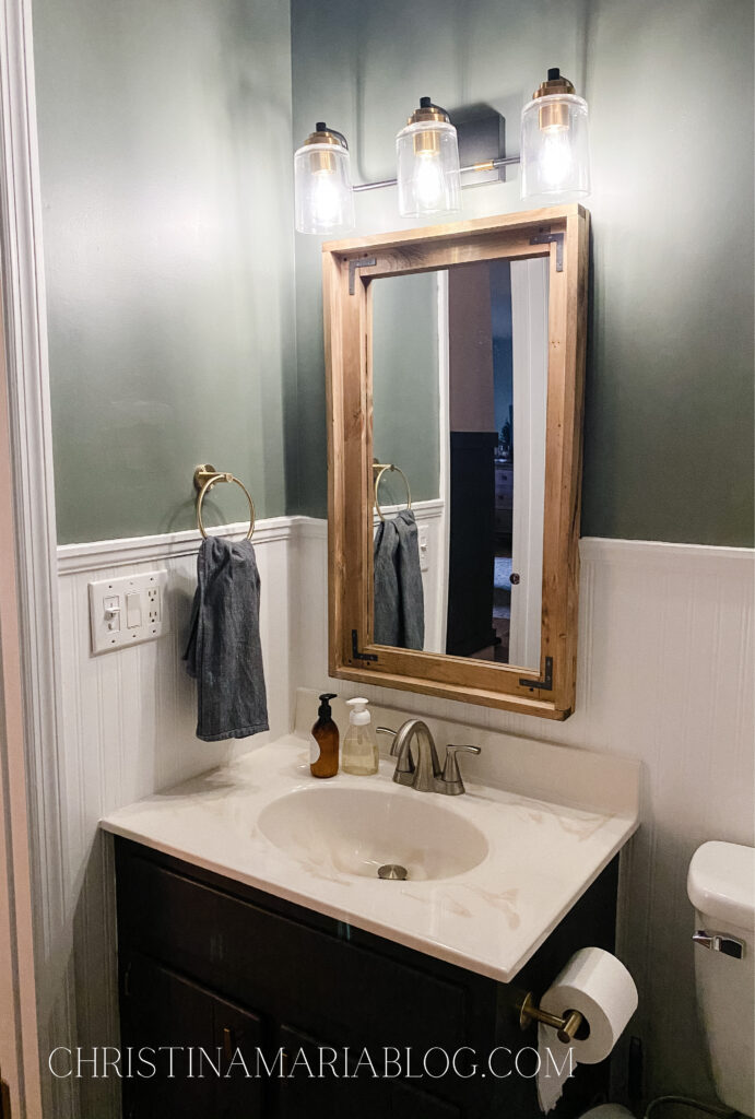 small bathroom makeover rustic wood mirror