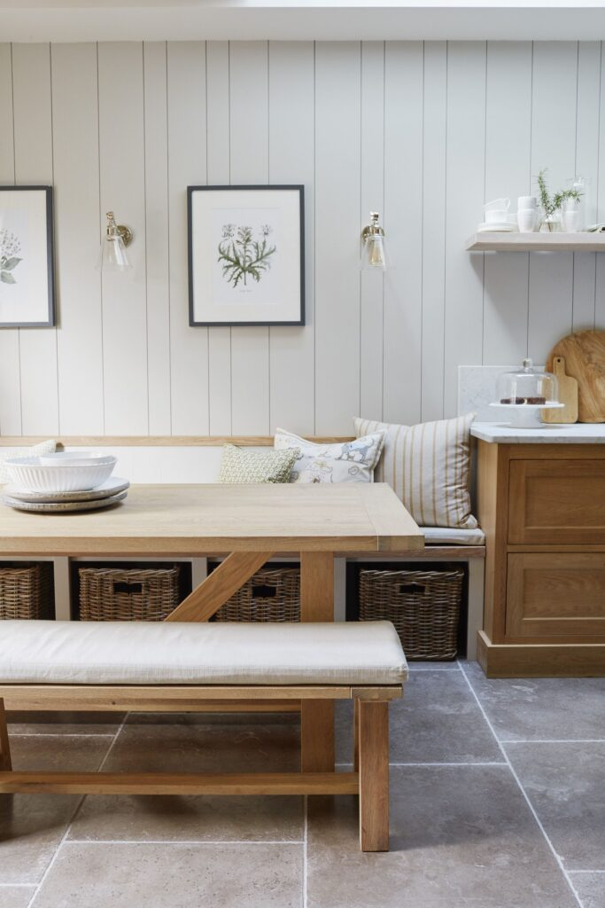 banquette with storage and vertical shiplap