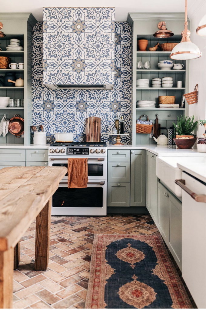 white buffalo styling co kitchen patterned tile open shelving