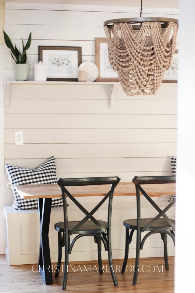 banquette makeover wood bead chandelier