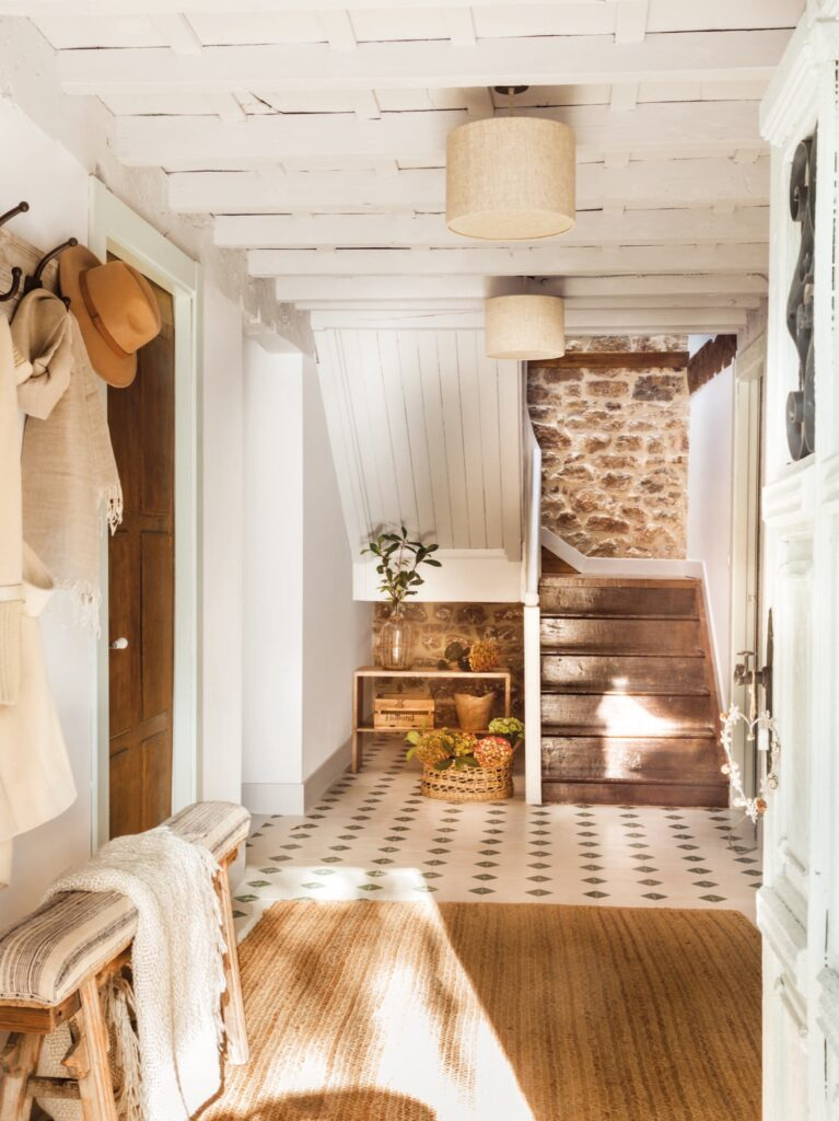 exposed wood ceiling painted white
